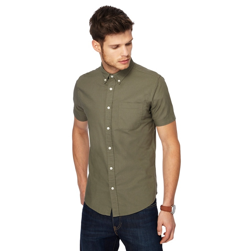 Red Herring Khaki short sleeve Oxford shirt