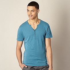 Red Herring - Dark turquoise open button neck t-shirt