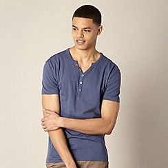 Red Herring - Mid blue open button neck t-shirt