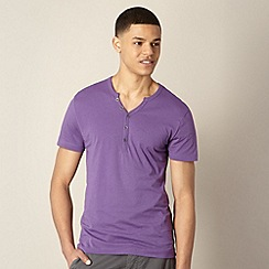 Red Herring - Purple open button neck t-shirt