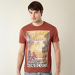 St George by Duffer - Red brick vintage Hawaii print t-shirt