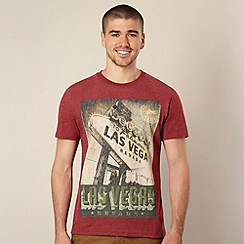 St George by Duffer - Big and tall red 'Las Vegas' print t-shirt