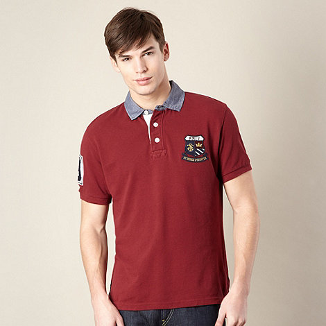 St George by Duffer - Big and tall red chambray collar pique polo shirt