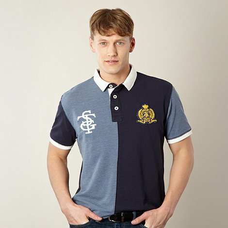 St George by Duffer - Navy half and half pique polo shirt
