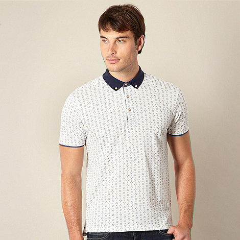 Red Herring - White diamond print pique polo shirt