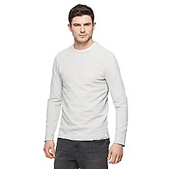 Red Herring - Big and tall light grey ribbed slim fit sweatshirt
