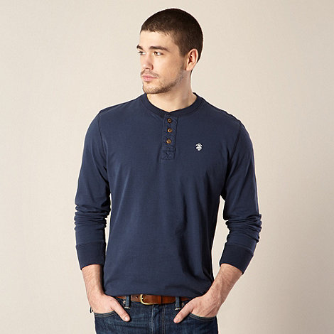 St George by Duffer - Navy plain button neck top