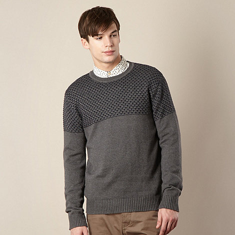 Red Herring - Grey textured knitted jumper