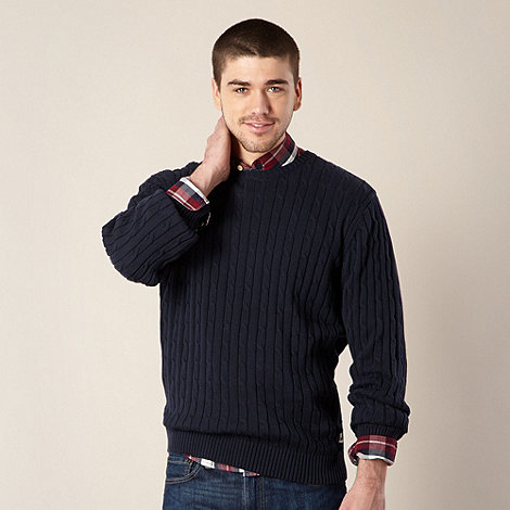 St George by Duffer - Navy cable knitted jumper