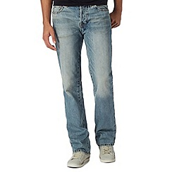 St George by Duffer - Light blue vintage wash bootcut jeans