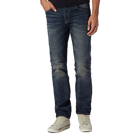 St George by Duffer - Dark blue mid vintage wash straight leg jeans