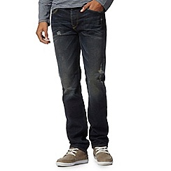 St George by Duffer - Dark blue washed 'rip and repair' straight leg jeans