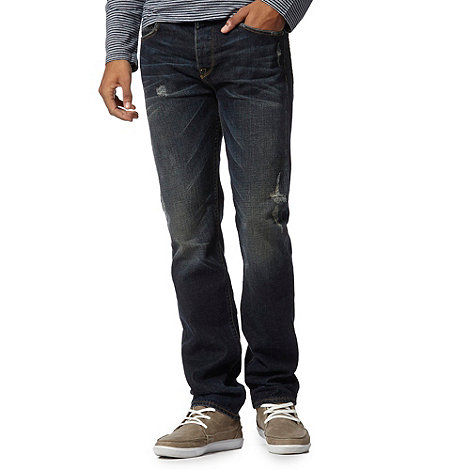 St George by Duffer - Dark blue washed +rip and repair+ straight leg jeans