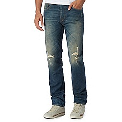 St George by Duffer - Mid blue vintage wash straight leg jeans