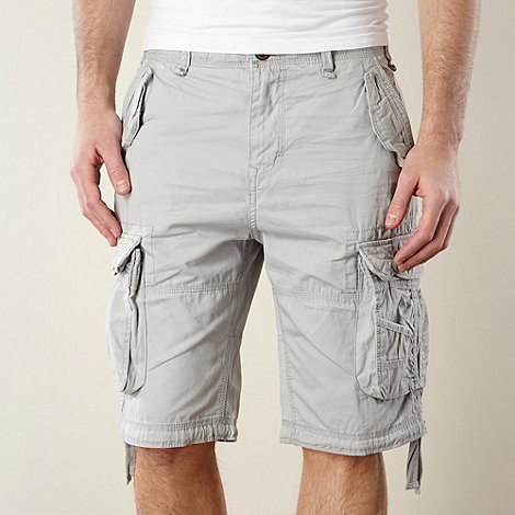 St George by Duffer - Light grey plain woven cargo shorts