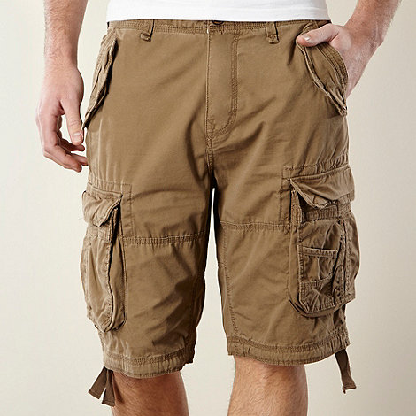 St George by Duffer - Tan plain woven cargo shorts