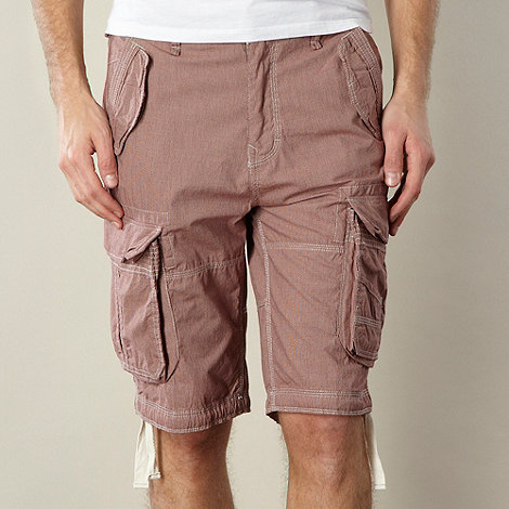 St George by Duffer - Red dogtooth pattern cargo shorts