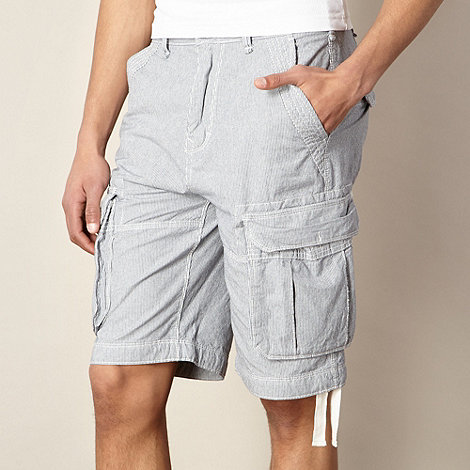 St George by Duffer - Blue fine striped cargo shorts