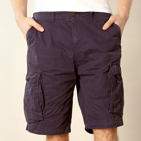 Red Herring - Navy twill cargo shorts