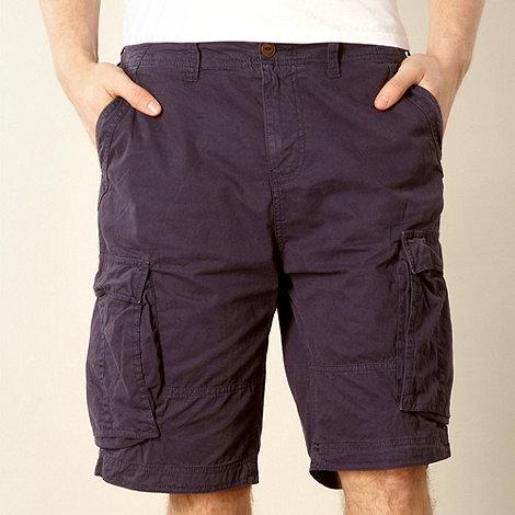 Red Herring - Navy twill cargo shorts