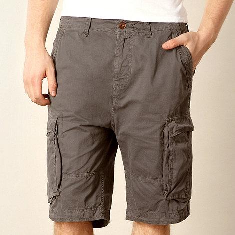 Red Herring - Grey twill cargo shorts