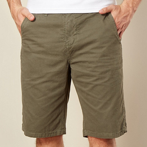 Red Herring - Khaki plain twill chino shorts