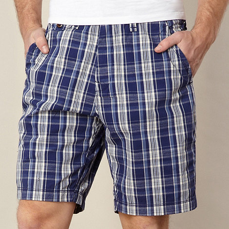 St George by Duffer - Big and tall blue checked chino shorts