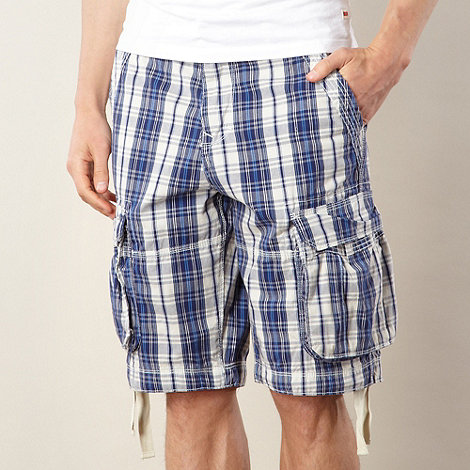 St George by Duffer - Big and tall blue checked cargo shorts