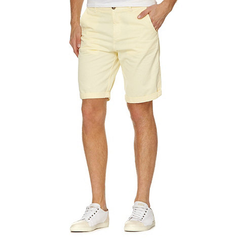 Red Herring - Light yellow twill chino shorts