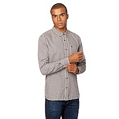 St George by Duffer - Big and tall dark red gingham check shirt