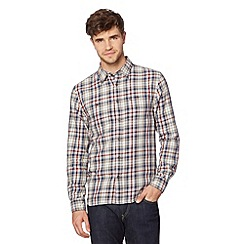 St George by Duffer - Big and tall dark red twill checked shirt