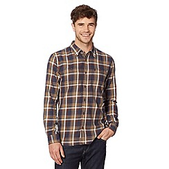St George by Duffer - Navy large checked twill shirt
