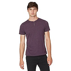 Red Herring - Purple marled button neck t-shirt