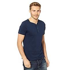 Red Herring - Navy plain button neck t-shirt