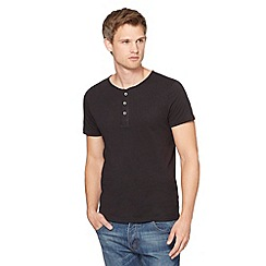 Red Herring - Black plain button neck t-shirt