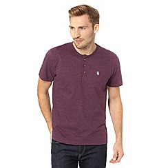 St George by Duffer - Purple plain grandad neck t-shirt
