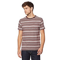 Red Herring - Dark red jacquard striped t-shirt
