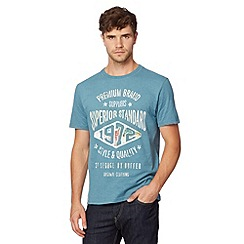 St George by Duffer - Dark turquoise 'Premium Brand' printed t-shirt