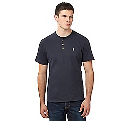 St George by Duffer - Big and tall navy plain button neck t-shirt