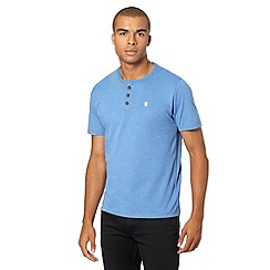St George by Duffer - Big and tall blue plain button neck t-shirt
