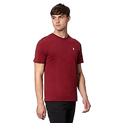 St George by Duffer - Dark red plain crew neck t-shirt