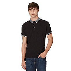 Red Herring - Black textured button down collar polo shirt