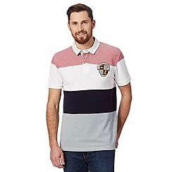 St George by Duffer - Dark red wide striped pique rugby shirt