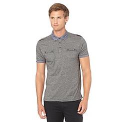 FFP - Black chambray collar striped polo shirt