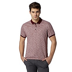 Red Herring - Dark red floral tile print polo shirt