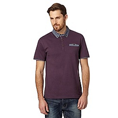 Red Herring - Purple woven collar polo shirt