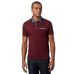 Red Herring - Dark red chest pocket polo shirt