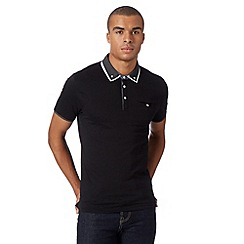 Red Herring - Black double geometric collar polo shirt