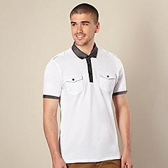 FFP - Big and tall white woven collar pique polo shirt