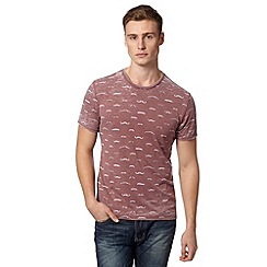 Red Herring - Red moustache print burnout t-shirt